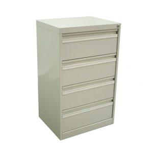 Armoire de rangement de la gamme abelia de couleur blanche sur quatre niveaux vue de profil