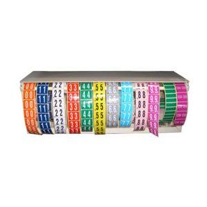 Boîte distributrice pour étiquettes vu de face équipé des rouleaux d'étiquettes rangés