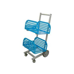 Chariot de transport de la gamme balcana de couleur bleu vu de profil