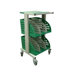 Chariot de transport de la gamme machaon vu de profil de couleur verte avec une tablette écritoire sur le dessus