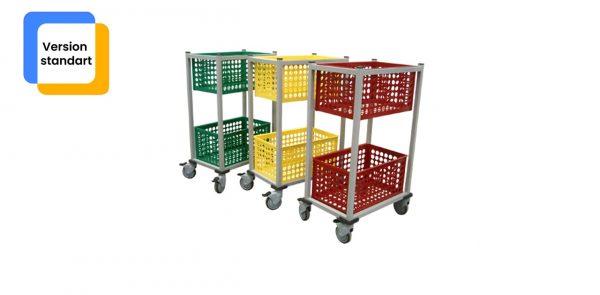 Trois chariots de transport zohra alignés de couleur bleu, vert et rouge