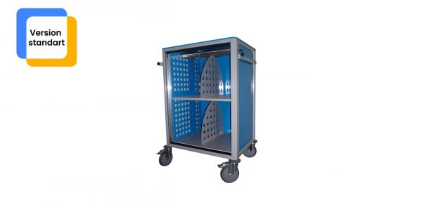 Chariot médical de la gamme alexanor vu de face de couleur bleu avec la porte ouverte