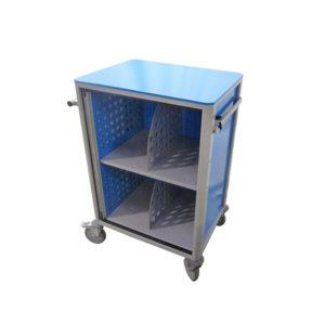Chariot médical de la gamme alexanor vu de profil de couleur bleu avec la porte ouverte