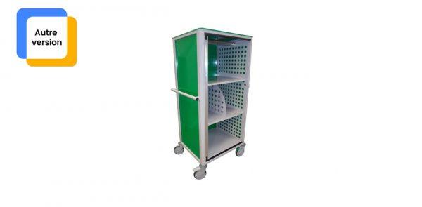 Chariot médical de la gamme alexanor vu de profil de couleur verte avec la porte ouverte