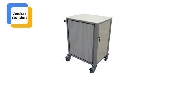Chariot médical de la gamme alexanor vu de profil de couleur grise avec la porte fermée
