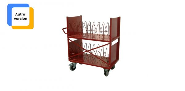 Chariot médical de la gamme monarque vu de face de couleur rouge