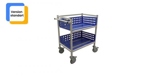 Chariot médical neptis vu de profil de couleur bleu