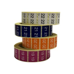 Pile de rouleaux d'étiquettes numériques