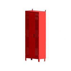 Casier de vestiaire double de couleur rouge vu de profil